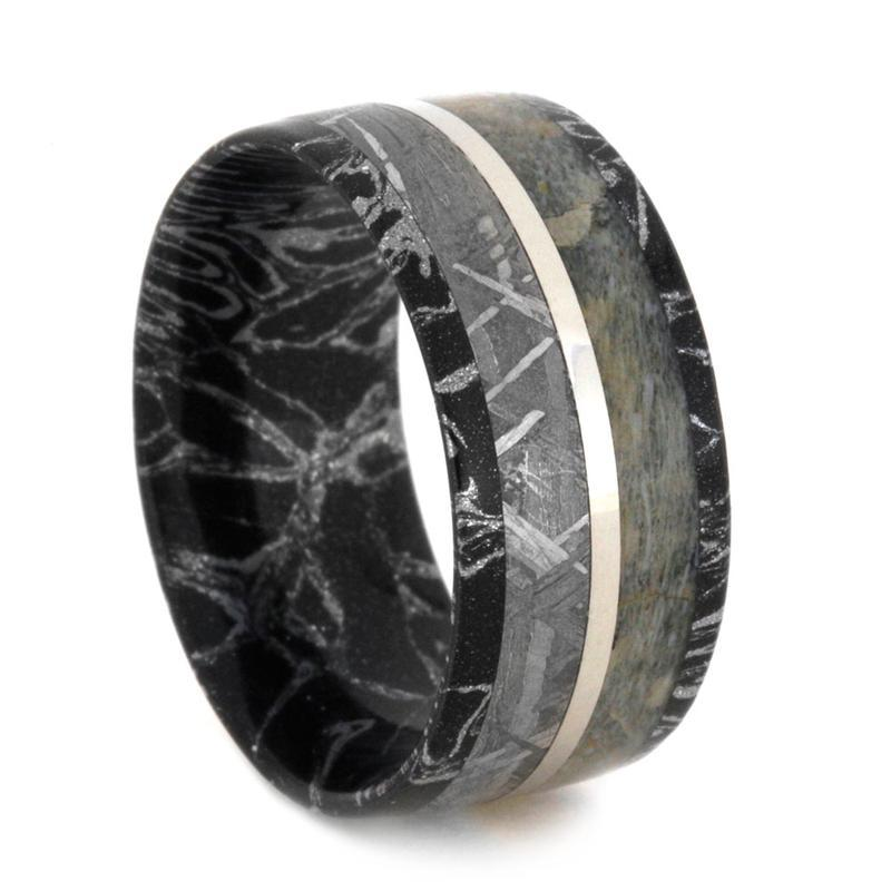 MOKUME RING WITH DINOSAUR BONE AND METEORITE-3134 - Cairo Men's Wedding Rings
