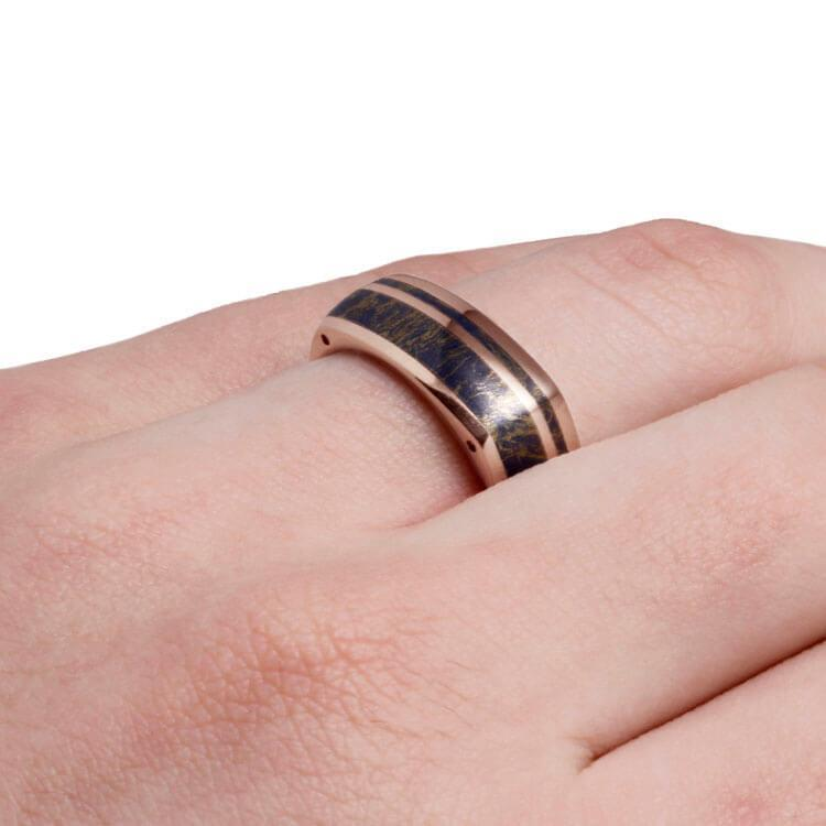 Mokume Ring With Side Accents Rose Gold Ring With Lapis Dj1003rg Cairo Men S Wedding Rings