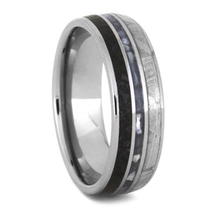 PEARL WEDDING BAND, MEN'S METEORITE RING WITH DINOSAUR BONE-3497 - Cairo Men's Wedding Rings