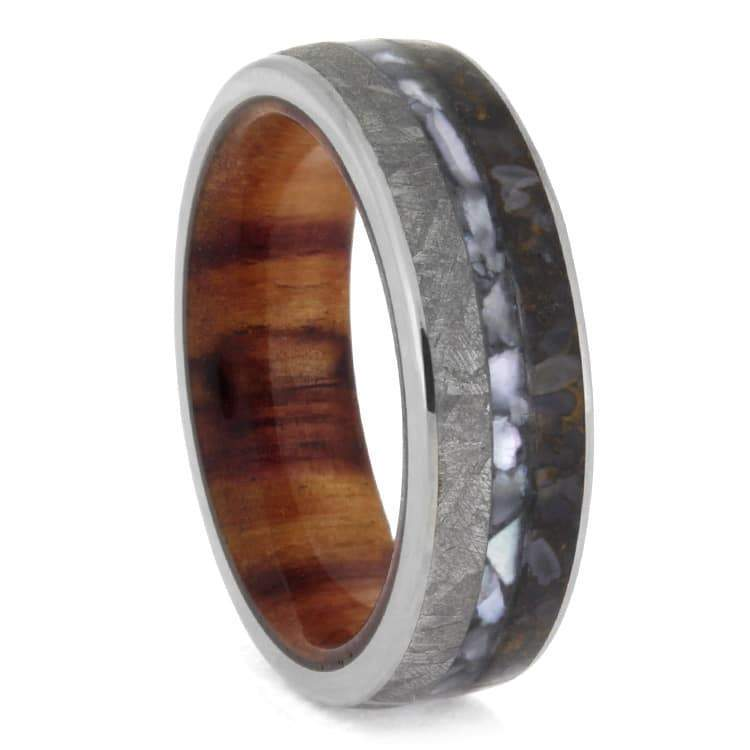 MOTHER OF PEARL WEDDING RING WITH DINOSAUR BONE AND METEORITE-2593 - Cairo Men's Wedding Rings
