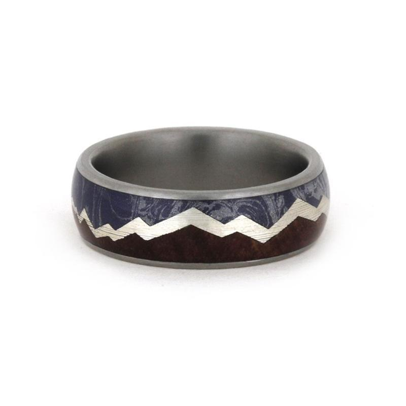MOUNTAIN REDWOOD RING WITH MOKUME AND SILVER-3392 - Cairo Men's Wedding Rings