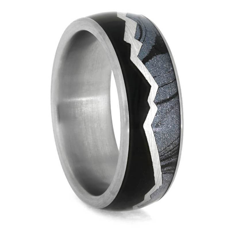 MOUNTAIN RING WITH TITANIUM EBONY WOOD AND MOKUME-3890 - Cairo Men's Wedding Rings