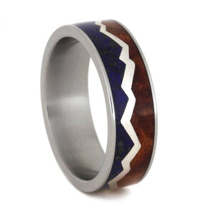 MOUNTAIN RING WITH LAPIS AND REDWOOD SPLIT BY SILVER-2826 - Cairo Men's Wedding Rings