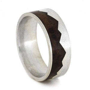 MOUNTAIN RING WITH NATURAL REDWOOD-1998 - Cairo Men's Wedding Rings