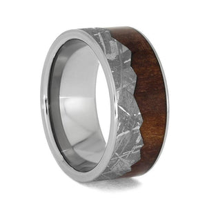 MOUNTAIN WEDDING BAND WITH CEDAR WOOD AND METEORITE-3983 - Cairo Men's Wedding Rings