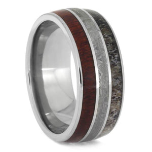 NATURAL MEN'S WEDDING BAND, BLOODWOOD AND METEORITE RING WITH ANTLER-2612 - Cairo Men's Wedding Rings