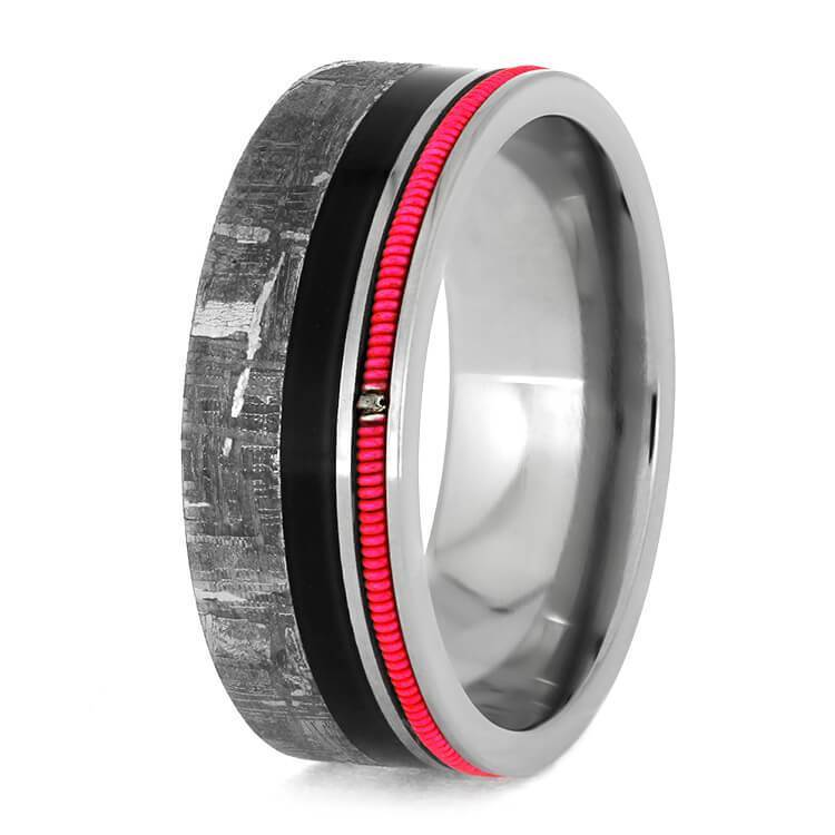 NEON GUITAR STRING RING WITH METEORITE AND EBONY-3837 - Cairo Men's Wedding Rings
