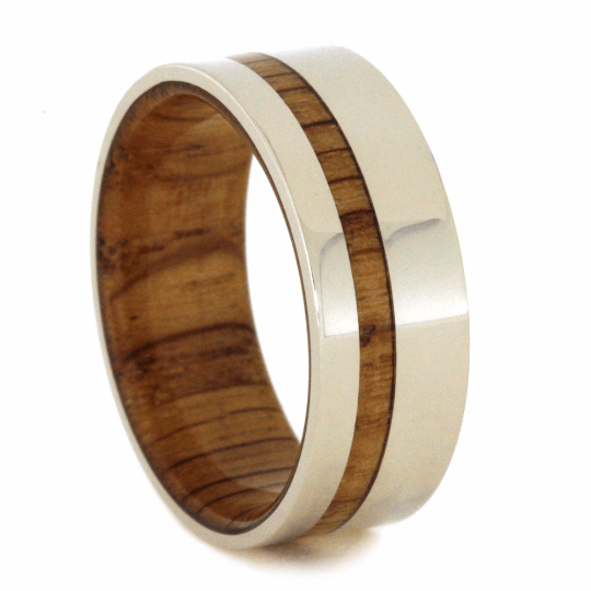 OAK WOOD RING WITH WHITE GOLD-2145 - Cairo Men's Wedding Rings