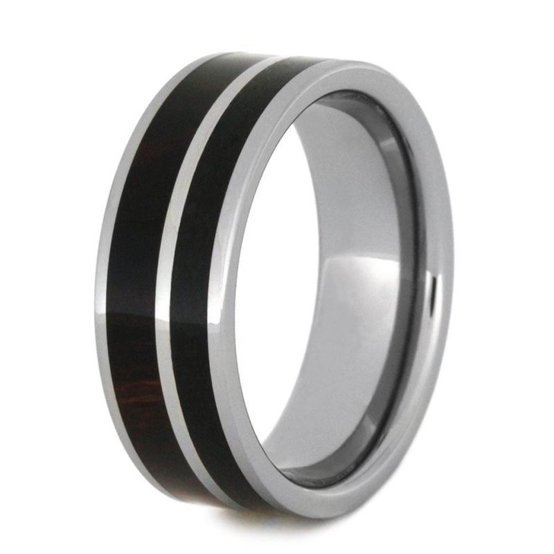 OBSIDIAN RING IN TUNGSTEN WITH IRONWOOD-2930 - Cairo Men's Wedding Rings