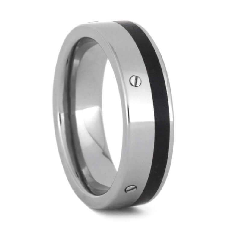OBSIDIAN WEDDING BAND, TITANIUM RING WITH SCREWS-3582 - Cairo Men's Wedding Rings