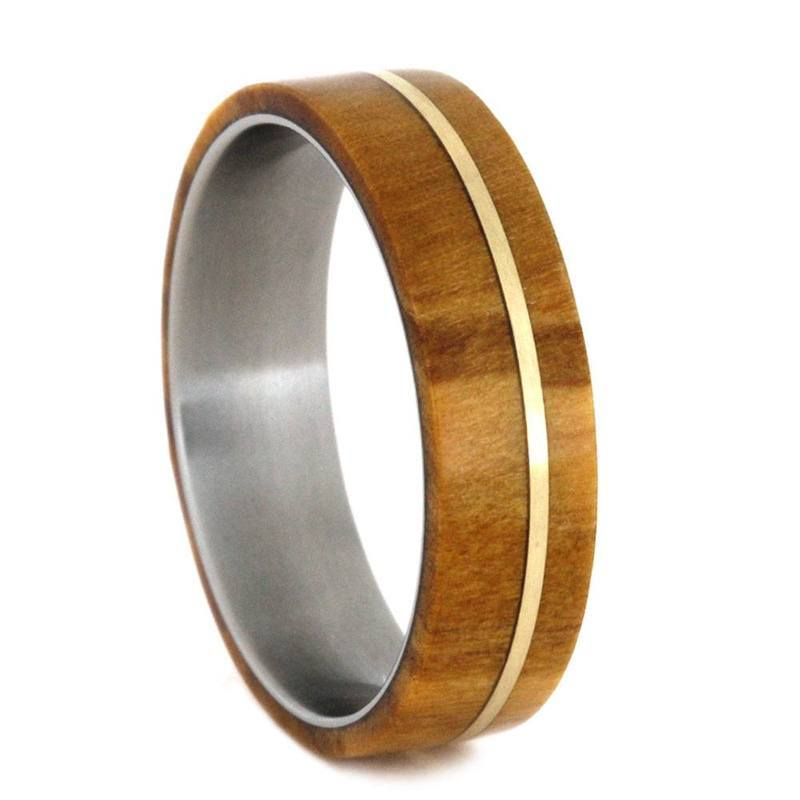OLIVE AND METAL RING WITH A YELLOW GOLD PINSTRIPE-2789 - Cairo Men's Wedding Rings
