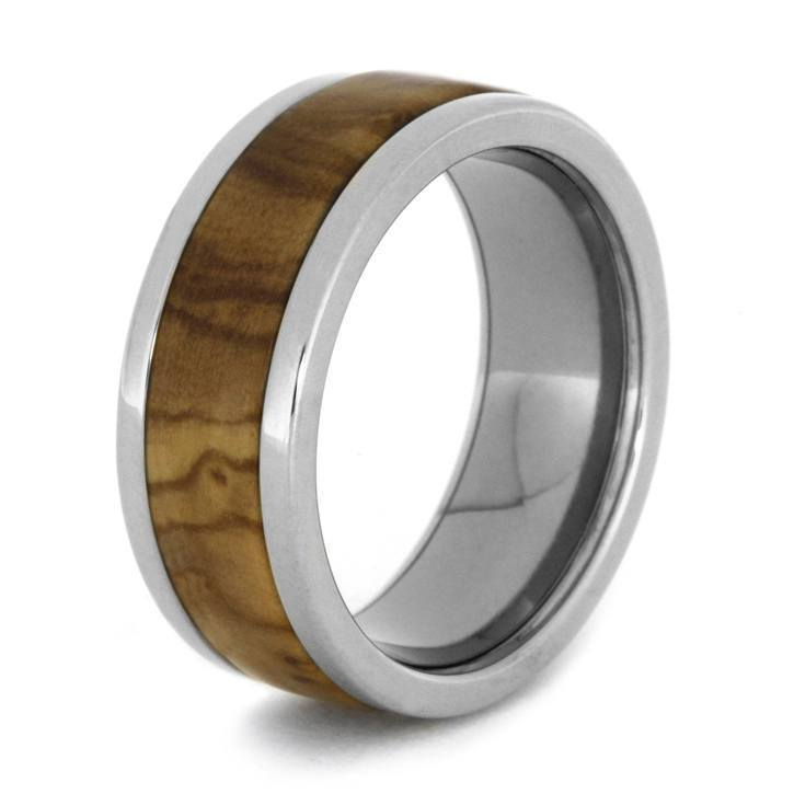 OLIVE RING INLAID ON A TITANIUM BAND-1244 - Cairo Men's Wedding Rings