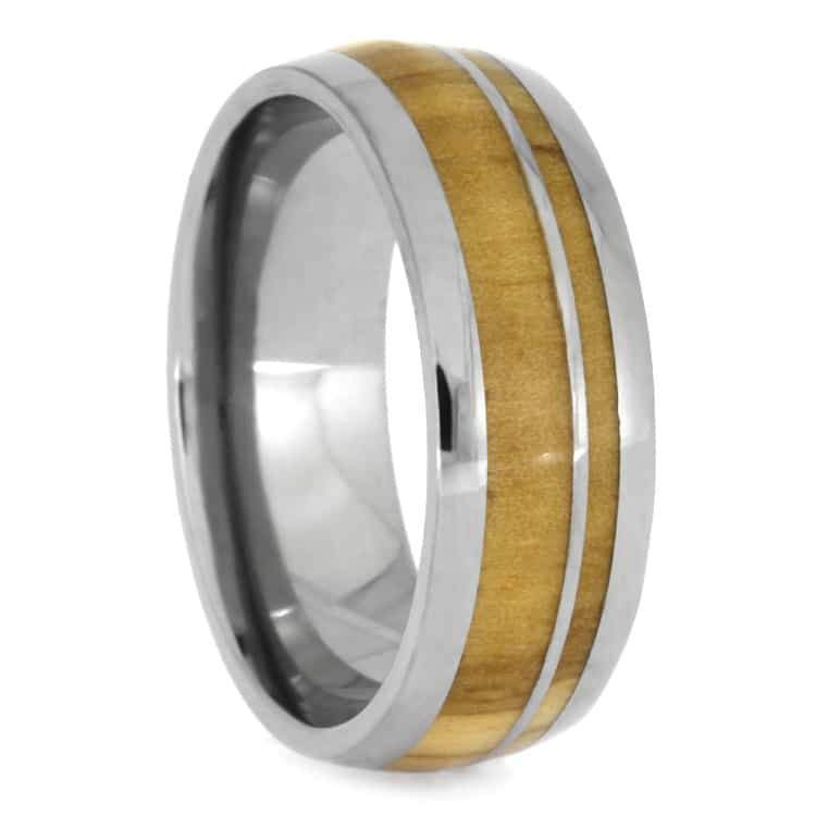 OLIVE WOOD WEDDING BAND WITH TITANIUM PINSTRIPE-2410 - Cairo Men's Wedding Rings