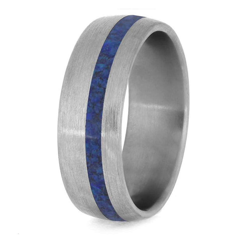 OPAL RING WITH BRUSHED TITANIUM-4230 - Cairo Men's Wedding Rings