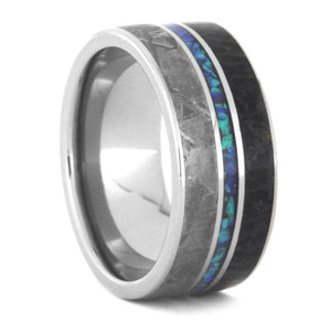 OPAL WEDDING BAND, METEORITE AND DINO BONE RING-3477 - Cairo Men's Wedding Rings