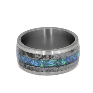 OPAL WEDDING BAND WITH WHITE MOKUME, MATTE TITANIUM WEDDING BAND-4009 - Cairo Men's Wedding Rings