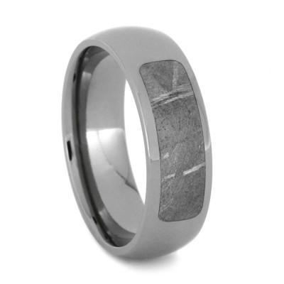 PARTIAL METEORITE RING IN TITANIUM, METEORITE JEWELRY-1938 - Cairo Men's Wedding Rings