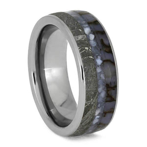 PEARL MEN'S WEDDING BAND WITH DINOSAUR BONE AND METEORITE-3718 - Cairo Men's Wedding Rings