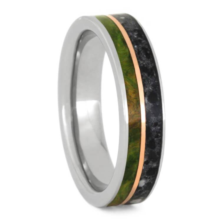 PERIDOT BOX ELDER BURL RING WITH CONCRETE AND COPPER-2334 - Cairo Men's Wedding Rings
