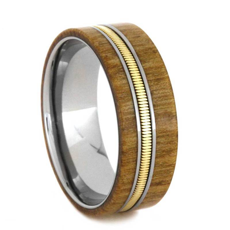 PERSONALIZED GUITAR RING WITH ROWAN WOOD-2806 - Cairo Men's Wedding Rings