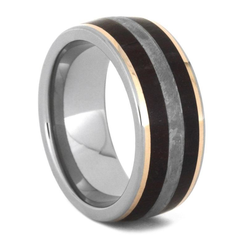 PETRIFIED WOODEN RING, METEORITE WEDDING BAND WITH 14K ROSE GOLD-3551 - Cairo Men's Wedding Rings
