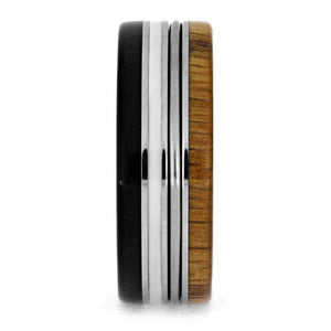 PIANO STRING RING, OAK WOOD WEDDING BAND WITH EBONY AND WHITE ENAMEL-3682 - Cairo Men's Wedding Rings