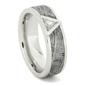 PLATINUM ENGAGEMENT RING WITH METEORITE & DIAMOND-1618 - Cairo Men's Wedding Rings