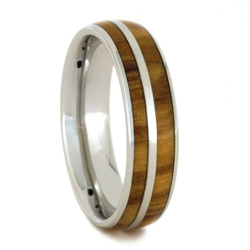 PLATINUM RING FOR MEN OR WOMEN WITH OLIVE WOOD-2853 - Cairo Men's Wedding Rings