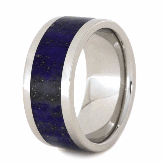 PLATINUM WEDDING BAND WITH LAPIS-2261 - Cairo Men's Wedding Rings