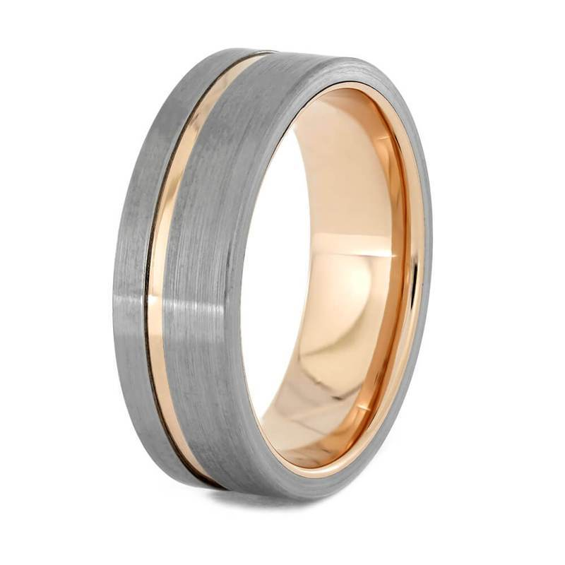 Rose Gold Wedding Band With Brushed Titanium Accents All Metal Ring 3 Cairo Men S Wedding Rings