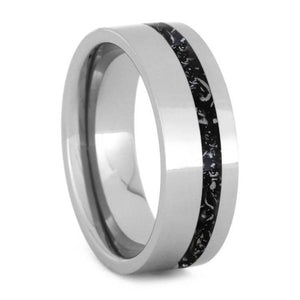 POLISHED TITANIUM WEDDING BAND WITH BLACK STARDUST PINSTRIPE-2446 - Cairo Men's Wedding Rings