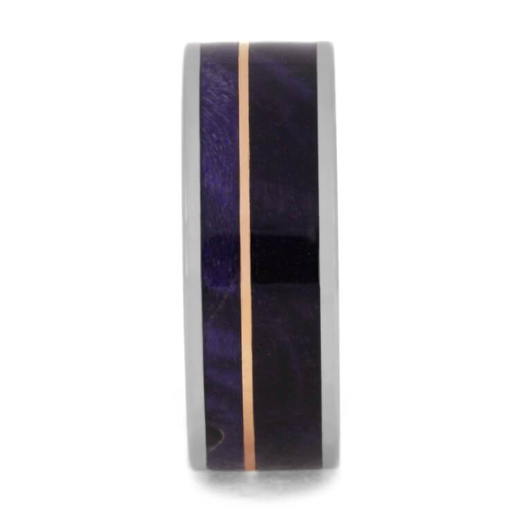 PURPLE BOX ELDER BURL RING WITH ROSE GOLD PINSTRIPE-3617 - Cairo Men's Wedding Rings