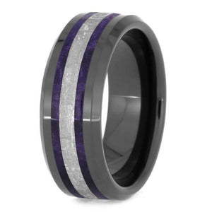 PURPLE BOX ELDER BURL WOOD RING WITH METEORITE-2548 - Cairo Men's Wedding Rings