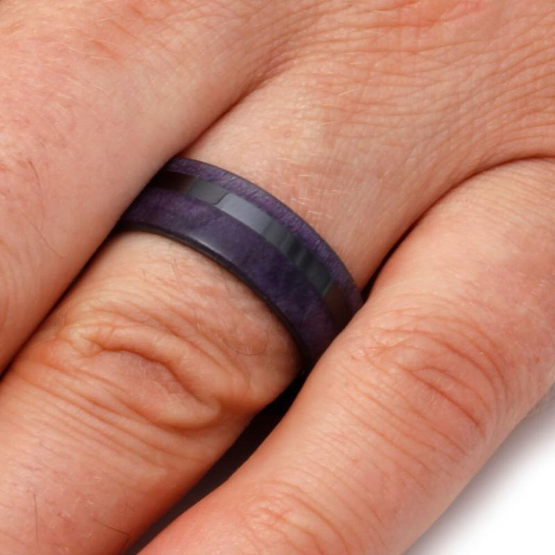 PURPLE BOX ELDER BURL RING WITH BLACK CERAMIC-2103 - Cairo Men's Wedding Rings