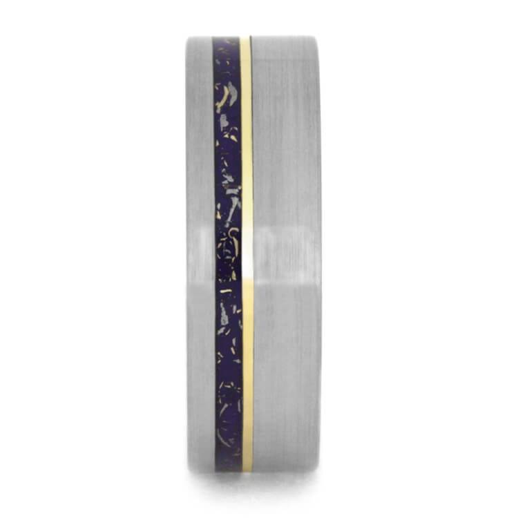 PURPLE STARDUST WEDDING BAND, TITANIUM RING WITH YELLOW GOLD-2393 - Cairo Men's Wedding Rings