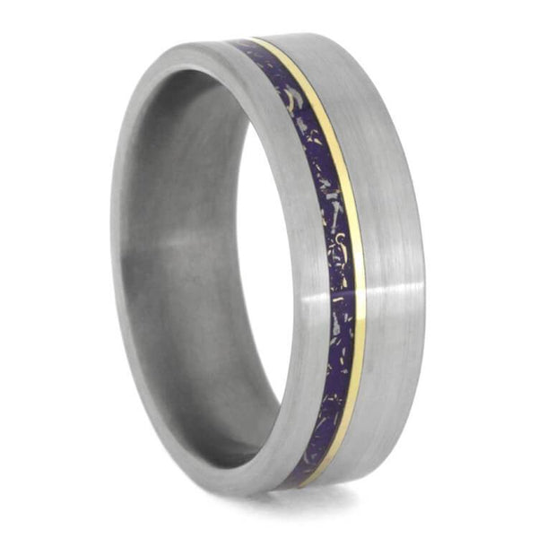 PURPLE STARDUST WEDDING BAND, TITANIUM RING WITH YELLOW GOLD-2393