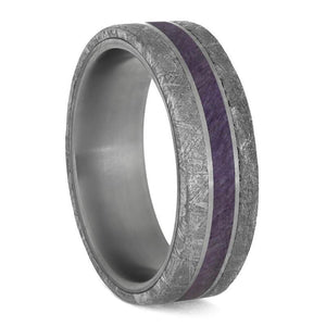 PURPLE WOOD MEN'S WEDDING BAND METEORITE EDGES SEPARATED BY TITANIUM-4207 - Cairo Men's Wedding Rings