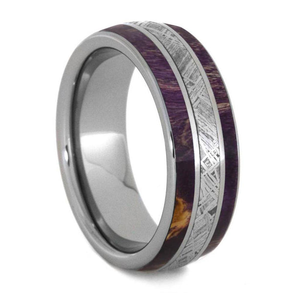 PURPLE WOOD RING FOR MEN WITH METEORITE, TITANIUM WEDDING BAND-4242