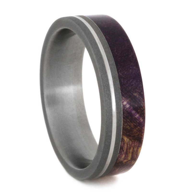 PURPLE WOOD RING, SANDBLASTED TITANIUM WITH PINSTRIPE-2197 - Cairo Men's Wedding Rings