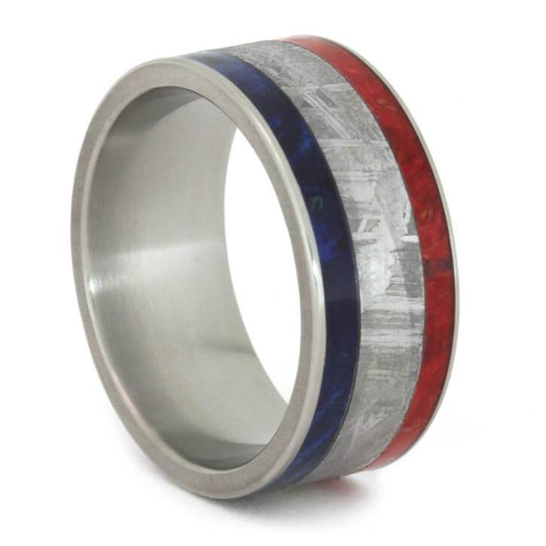 RED AND BLUE BOX ELDER BURL WOOD RING-2518