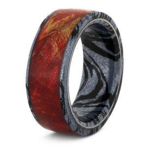 RED BOX ELDER BURL WEDDING BAND, MOKUME RING-3553 - Cairo Men's Wedding Rings