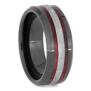 RED BOX ELDER BURL AND METEORITE RING WITH BEVELED EDGES-2549 - Cairo Men's Wedding Rings