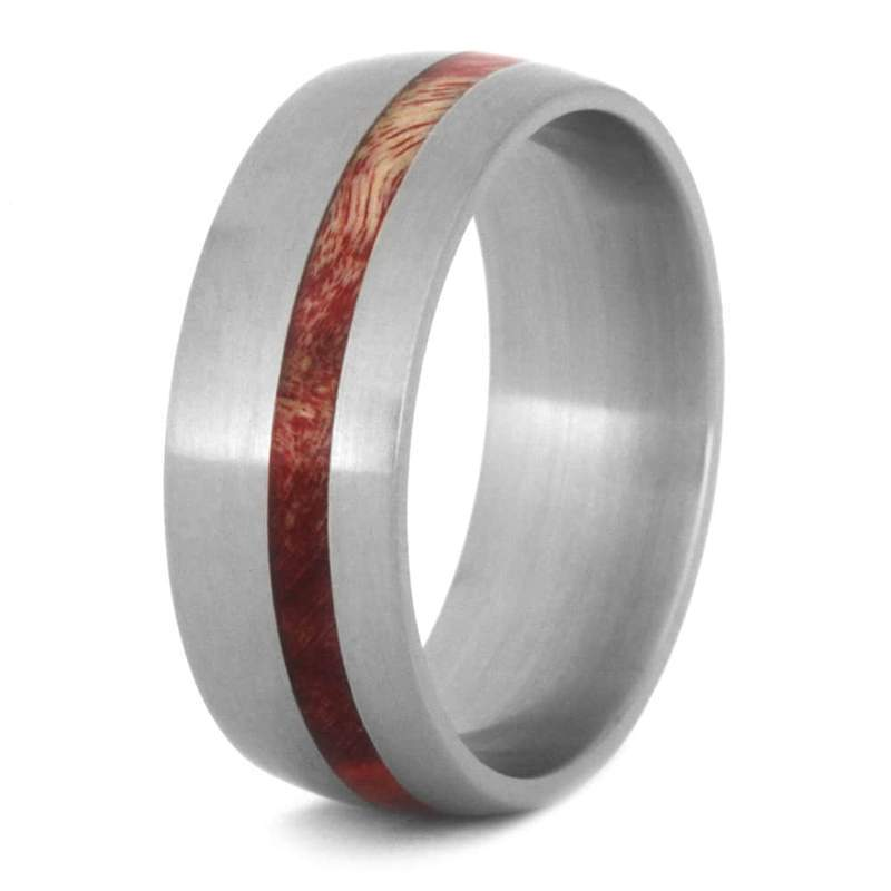 RED BOX ELDER BURL WEDDING BAND, ECO FRIENDLY RING IN TITANIUM-3509 - Cairo Men's Wedding Rings