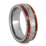 RED BOX ELDER WOOD MEN'S RING, METEORITE WEDDING BAND-4247 - Cairo Men's Wedding Rings