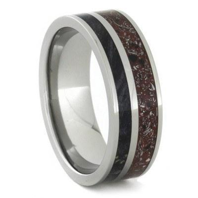 RED CONCRETE METEORITE RING WITH BLACK BOX ELDER WOOD-1736 - Cairo Men's Wedding Rings