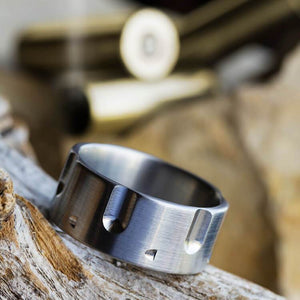 REVOLVER RING WITH TITAINUM BRUSHED FINISH-3301 - Cairo Men's Wedding Rings