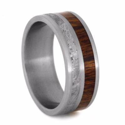 ROSEWOOD AND METEORITE TITANIUM WEDDING BAND-2036 - Cairo Men's Wedding Rings