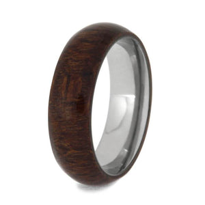 CARRIBEAN ROSEWOOD RING WITH SANDBLASTED TITANIUM-3958 - Cairo Men's Wedding Rings