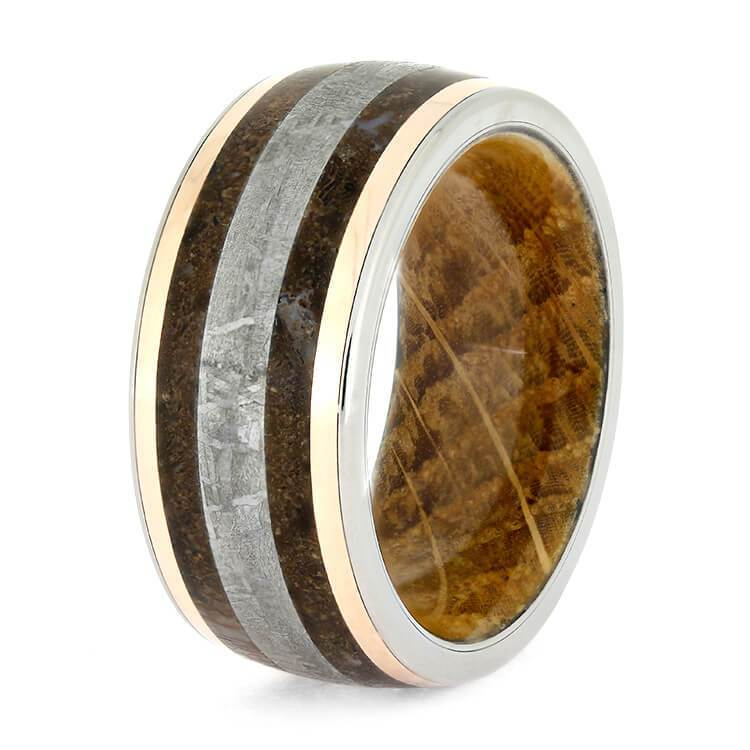 ROSE GOLD FOSSIL RING, METEORITE MEN'S WEDDING BAND WITH WHISKEY OAK-2701 - Cairo Men's Wedding Rings