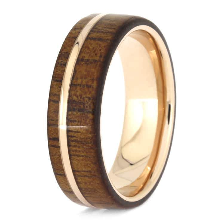 ROSE GOLD KOA WOOD RING, WOODEN WEDDING BAND WITH ROSE GOLD-2614 - Cairo Men's Wedding Rings